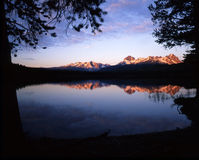 Sawtooth Mountains & Little Redfish Lake (Early Morning) Royalty Free Stock Image