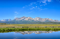Sawtooth Range Reflection, Meadow Creek, Stanley, ID Stock Image
