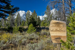 Sawtooth wilderness sign and mountains Royalty Free Stock Photo