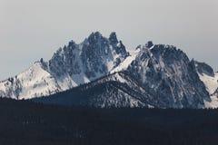 Sawtoothberg med snö Arkivbild