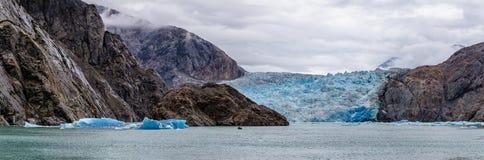 Sawyer Glacier i Alaska, USA royaltyfri fotografi
