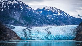 Sawyer Glacier at Tracy Arm Fjord in alaska panhandle royalty free stock photo
