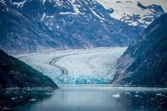 Sawyer Glacier at Tracy Arm Fjord in alaska panhandle stock images