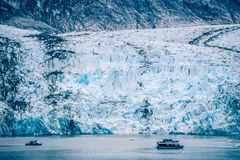 Sawyer Glacier at Tracy Arm Fjord in alaska panhandle royalty free stock image