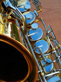 Sax. A close up of a saxophone with the focus on the keys Royalty Free Stock Images