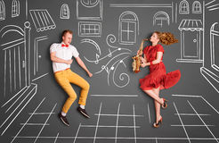 Sax and dances. Stock Image