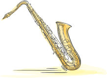 Sax Drawn Watercolor Stock Images