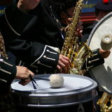 Sax e tamburi Fotografia Stock Libera da Diritti