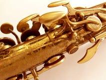 Sax fragment. Old alto sax fragment on white Stock Images