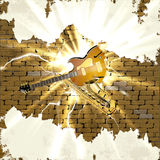 Sax and jazz guitar in the brick wall with lightning  flash Stock Image