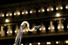 Sax during live concert by night. Detail of a sax during live concert by night Royalty Free Stock Images