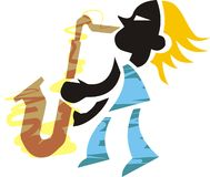 Sax man. Art illustration of a man playing saxophone Royalty Free Stock Photo