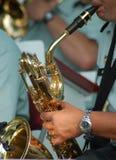 Sax Man. Man blowing on a saxophone Royalty Free Stock Image