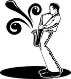 Sax man. Black and white illustration of a a man musician playing sax Stock Photography