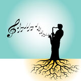 Sax man with roots. Illustration of a silhouetted man playing a saxophone with tree roots at his feet.  Musical notes are streaming out of the instrument Royalty Free Stock Photos