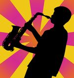 Sax Man Silhouette. Black silhouette of a musician playing the saxophone.  Figure is leaning back slightly and playing with lots of energy. Bold, bright retro Stock Photos