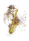 Sax player Royalty Free Stock Images
