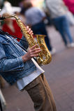 Sax Player. Street performer in downtown Vancouver Royalty Free Stock Photo