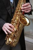 Sax player. Some pics of Musical Instruments: street photography Stock Photos