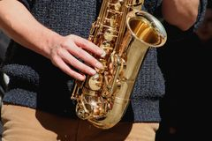 Sax player. Musical Instruments Royalty Free Stock Photos