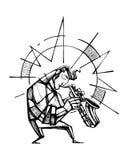 Sax player hand drawn illustration. Hand drawn vector illustration or ink drawing of a sax player Royalty Free Stock Image