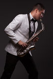 Sax player playing Royalty Free Stock Image