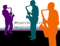 Sax players with music notes  Royalty Free Stock Images