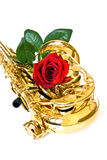 Sax and rose Royalty Free Stock Photo