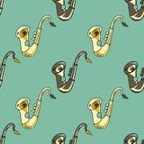 Sax seamless pattern. Original design for print or digital media Royalty Free Stock Photography