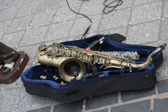 Sax. Take a ferry cross the Mersey and see the saxaphone man busking Stock Images