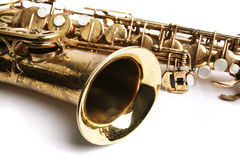 Sax theme. Saxophone. Musical instrument. Part of hornsection Stock Photos
