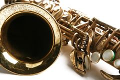 Sax theme. Saxophone. Musical instrument. Part of hornsection Royalty Free Stock Photography