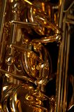 Sax Valves. A brass Saxophone with valve and rod details Stock Photos