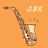 Sax vector. Illustrations of a saxophone, retro style + vector eps file Stock Photography