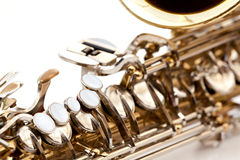 Saxaphone Detail. A saxaphone detail isolated on white Stock Photography