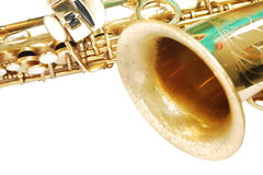 Saxaphone Detail. A golden  saxophone detail isolated on white background Royalty Free Stock Photo