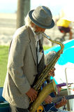 Saxaphone Man 1. Old man playing the saxaphone on the Venice Beach Boardwalk Stock Photo