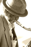 Saxaphone Man 2. Old man playing the saxaphone on the Venice Beach Boardwalk Stock Image
