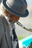 Saxaphone Man 3. Old man playing the saxaphone on the Venice Beach Boardwalk Royalty Free Stock Images