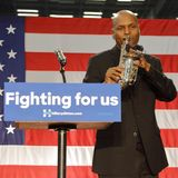 Saxaphone musican plays for Hillary Clinton Rally at SW College. LOS ANGELES, CA - APRIL 16, 2016: Black saxaphone player performs for US Democratic Presidential Royalty Free Stock Photography