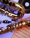 Saxaphones. And music Stock Images
