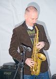 Saxaphonist in the Oxbow Lake Band   d Stock Photo