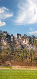 Saxische Schweiz with Bastei bridge in early spring. Royalty Free Stock Photography