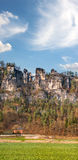 Saxische Schweiz with Bastei bridge in early spring. Royalty Free Stock Images