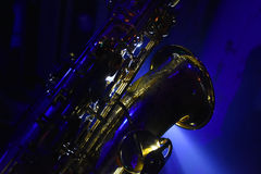 Saxo make blue and blues. Saxo make blue ligth and blues music Stock Images