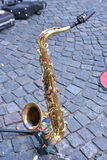 Saxo is resting. Saxo waiting for the musician in the streets of San Telmo Stock Photography