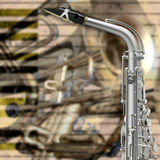 Saxofón abstracto del fondo del grunge e instrumentos musicales Imágenes de archivo libres de regalías