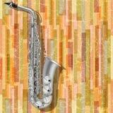 Saxofón abstracto del fondo del grunge e instrumentos musicales Imagen de archivo