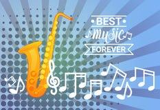 Saxofón con el concepto de Art Banner Best Music Instrument del estallido de las notas Fotografía de archivo