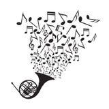 Saxofón con las notas de la música Imagen de archivo libre de regalías